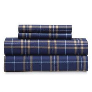 The Holy Blue Checked Flannel Bed Sheet