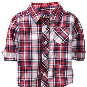 Trendy Red Tartan Plaid Baby Flannel Shirt