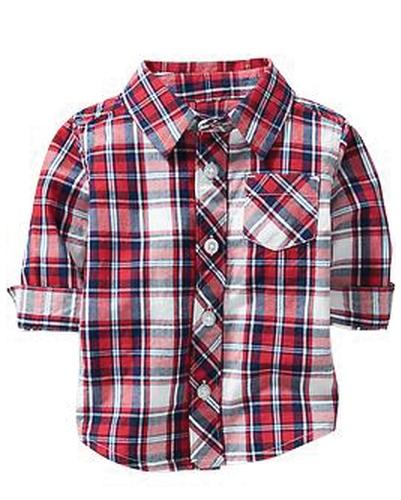 Trendy Red Tartan Plaid Baby Flannel Shirt