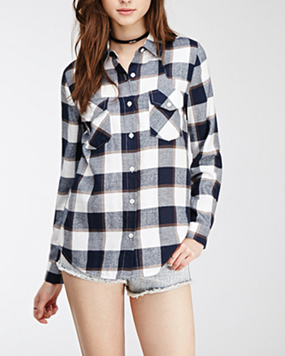 Tri-Color Plaid Flannel Shirt