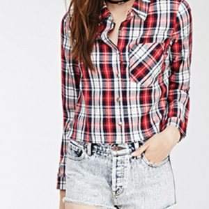 Tri-color Women's Checked Flannel Shirt