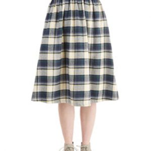 Vignette Black and White Flannel Skirt
