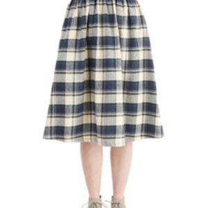 Vignette Black and White Flannel Skirt