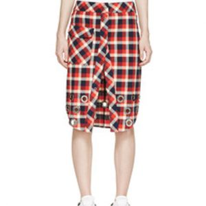 Warped In Red, White and Black Check Flannel Skirt