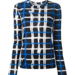 White and Blue Digital Checkered Tee
