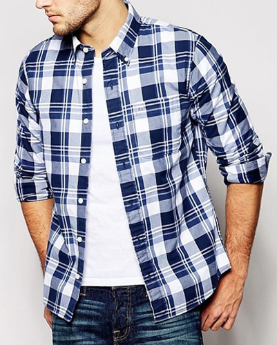 White and Navy Blue Checked Flannel Shirt