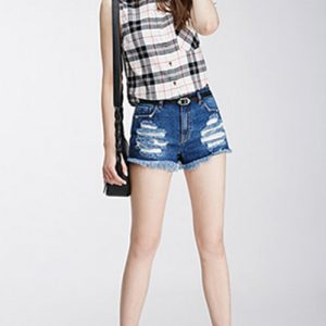 White & Black Checks Sleeveless Flannel Shirts For Women