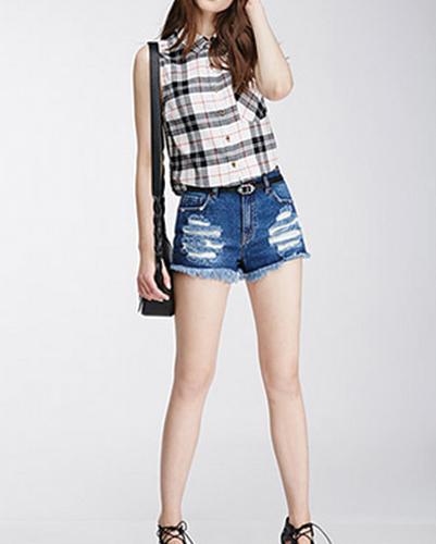 White & Black Checks Sleeveless Flannel Shirts For Women