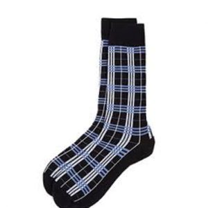 White, Blue and Black Speck Check Socks