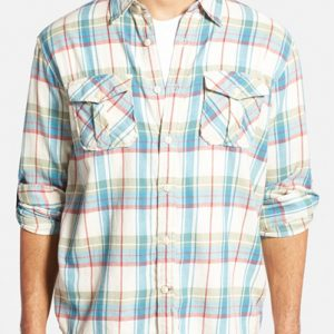 White, Blue and Pink Check Flannel Shirt