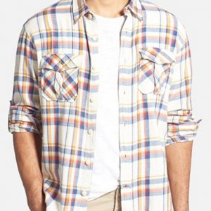 White, Brown and Blue Checked Flannel Shirt