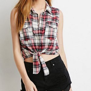 White Checkered Tied-up Shirt