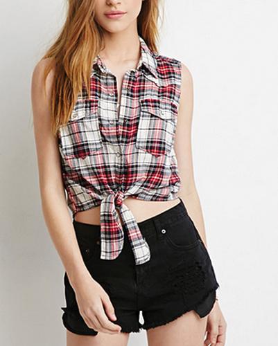 White Checkered Tied-up Shirt