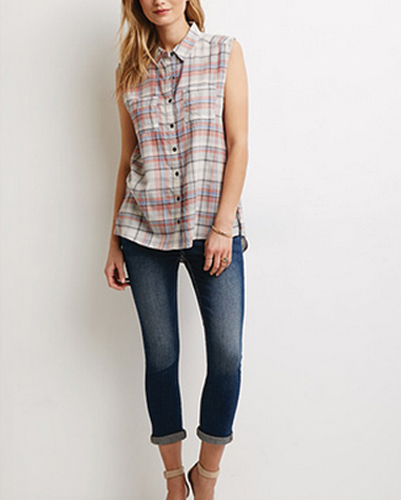 White Plaid Flannel Shirt