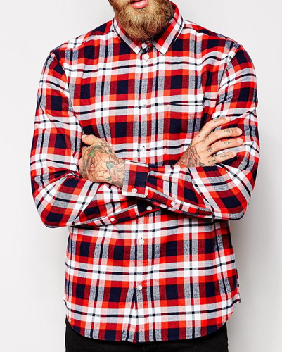 White, Red and Bluechecked Flannel Shirt