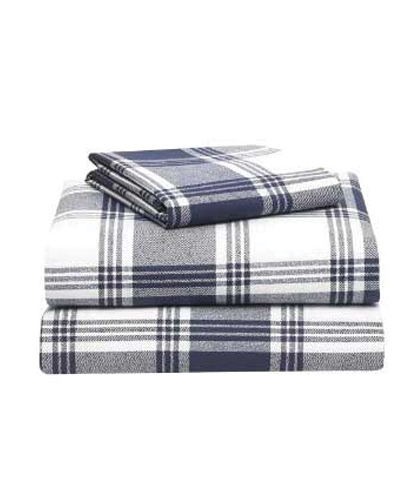 Wooly Ink Checked Flannel Bed Sheet