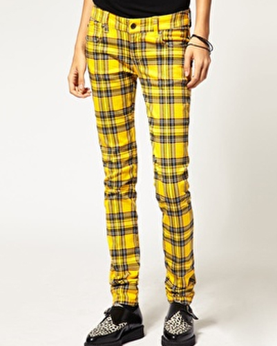 Yellow and Black Cigar Fit Flannel Pants