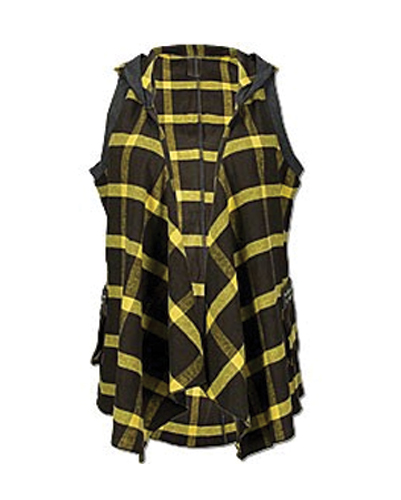 Yellow Black Checked Ruffled Vest For Ladies
