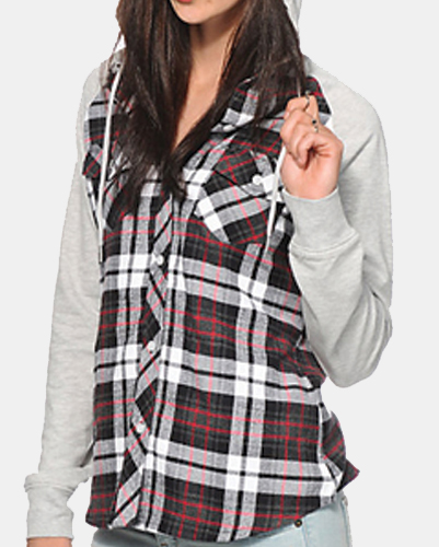 Zigzag Tartan Girl's Cool Flannel Shirt