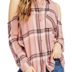Women Cold Shoulder Flannel Plaid Shirts Manufacturer