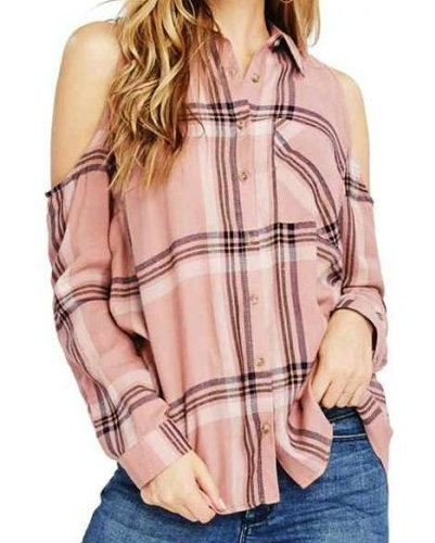 Women Cold Shoulder Flannel Plaid Shirts Manufacturer