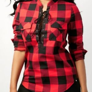 Wholesale Women Cotton Lace up Flannel Plaid Shirt
