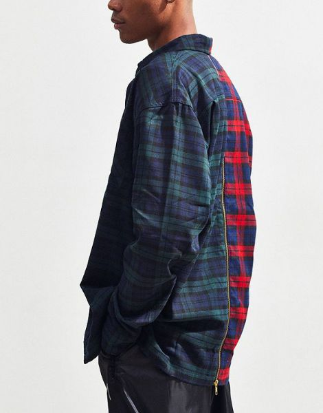 wholesale two tone checked button oversized flannel shirt manufacturers