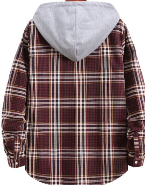 wholesale flannel plaid shirt with hood