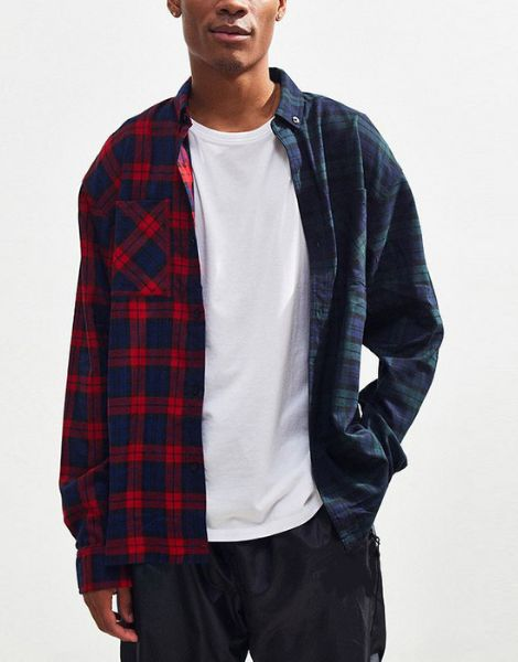 custom bulk two tone checked button oversized flannel shirt