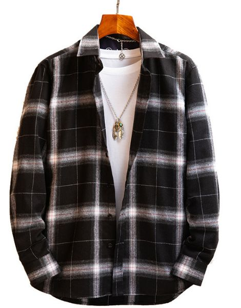 wholesale long sleeve oversized vintage flannel shirts for men manufacturers