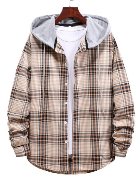 bulk flannel plaid shirt with hood