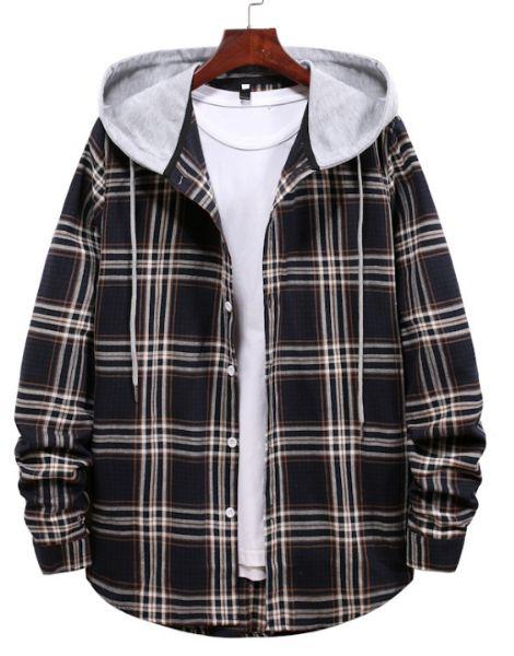 bulk flannel plaid shirt with hood
