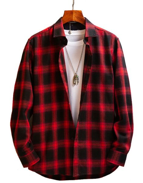 bulk long sleeve oversized vintage flannel shirts for men