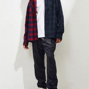 bulk two tone checked button oversized flannel shirt