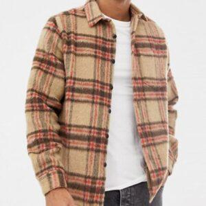 bulk long sleeve spread collar wool check shirt
