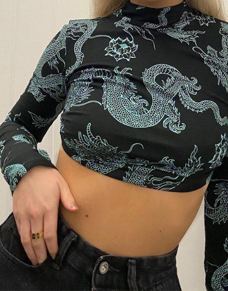 bulk long sleeve turtle neck crop top for women