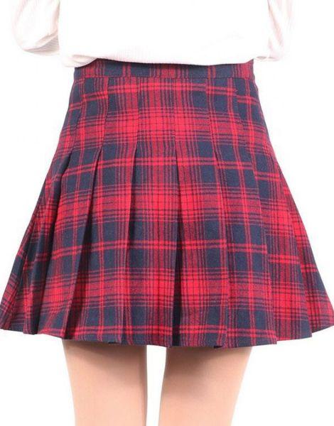 custom high waisted knee length plaid flannel skirts