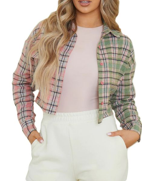 wholesale spandex check spliced crop plaid flannel shirt manufacturers