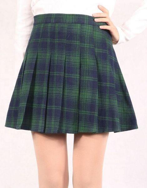 custom high waisted knee length plaid flannel skirts manufacturers