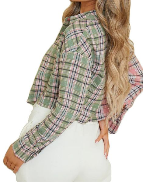 wholesale bulk spandex check spliced crop plaid flannel shirt