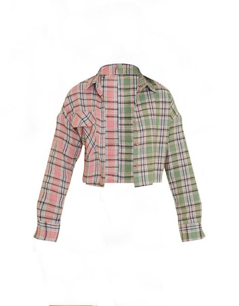 custom spandex check spliced crop plaid flannel shirt manufacturers