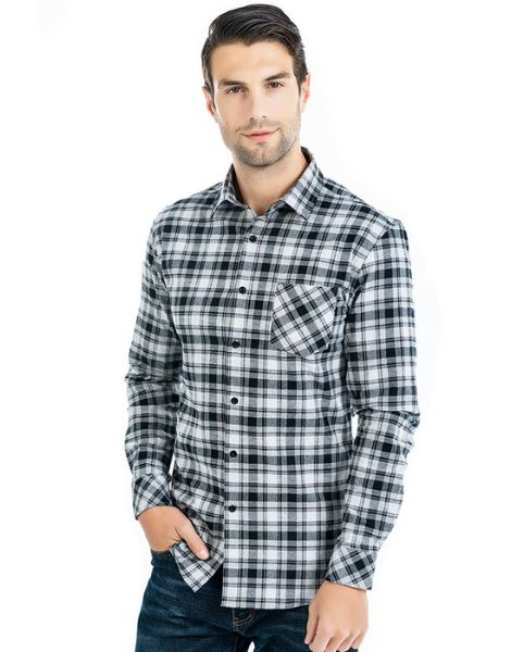 bulk cotton long sleeve plaid mens flannel shirt