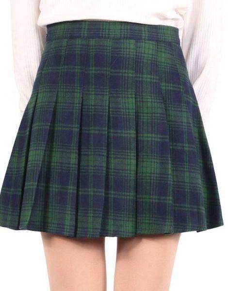 bulk high waisted knee length plaid flannel skirts