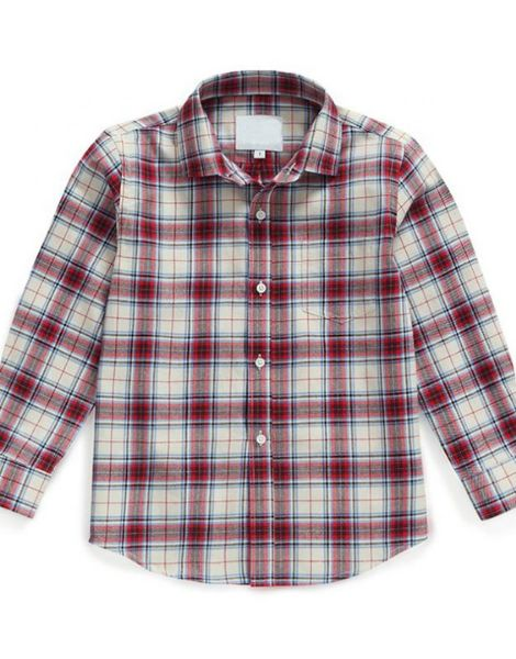 bulk long sleeve red and black check kids flannel shirts