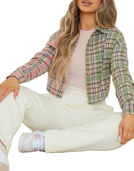 bulk spandex check spliced crop plaid flannel shirt